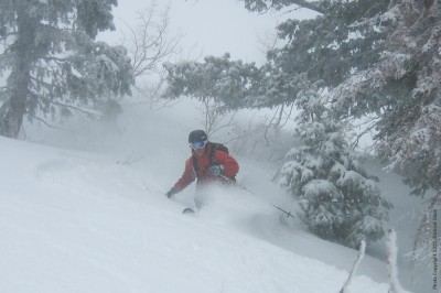 Backcountry powder day in the Wasatch Range in Utah (Feb. 2010).
