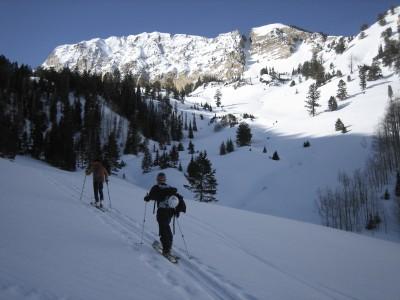 Rando skiing towards Deseret Peak in Utah.