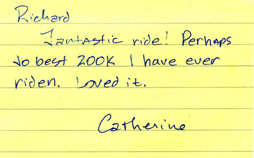 Note from Catherine Shank, after riding this in early November 2010.