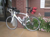 My bike at the finish with the 3rd water bottle cage removed.