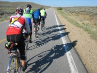 Paceline action after leaving Walden, heading towards Steamboat Springs.