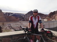 Richard at an Info Checkpoint (Hoover Dam parking lot) w/ the Mike O'Callaghan–Pat Tillman Memorial Bridge bridge in the background.