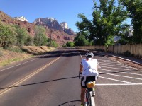 Nearing Zion, spires in the background.